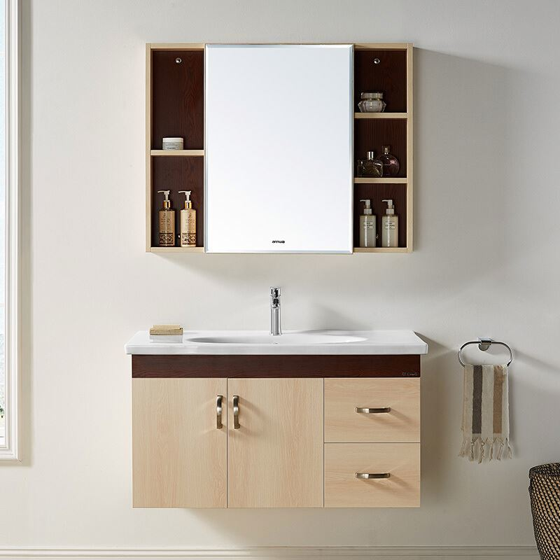 Cheap Light Grey Modern Solid Wood Bathroom Cabinet Sets