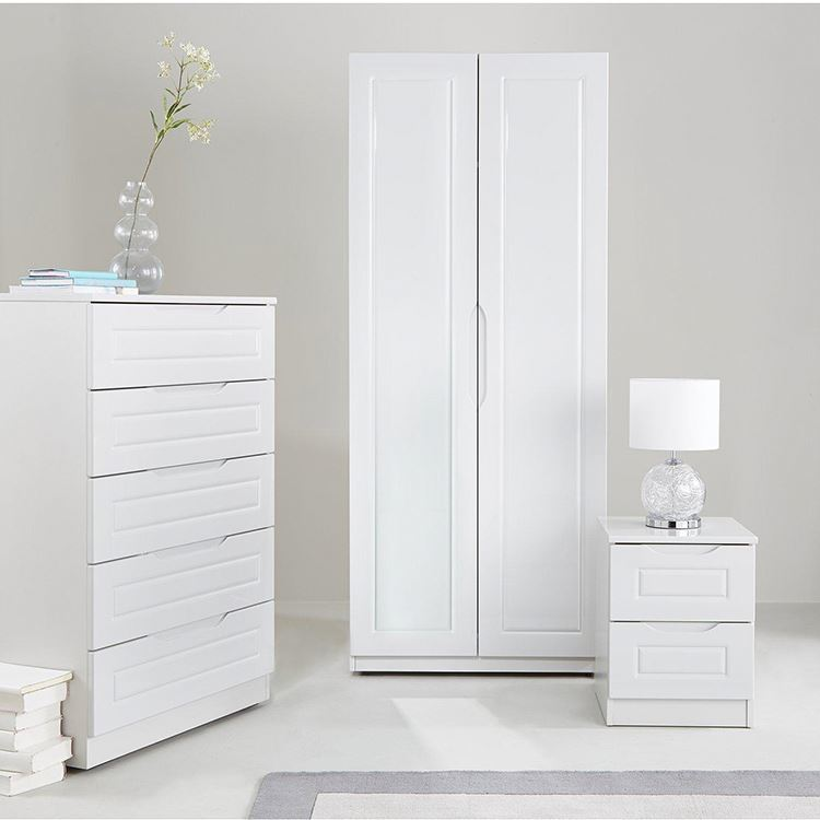 2 Door White Home Furniture MDF Wood Storage Bedroom Cheap New Wardrobe