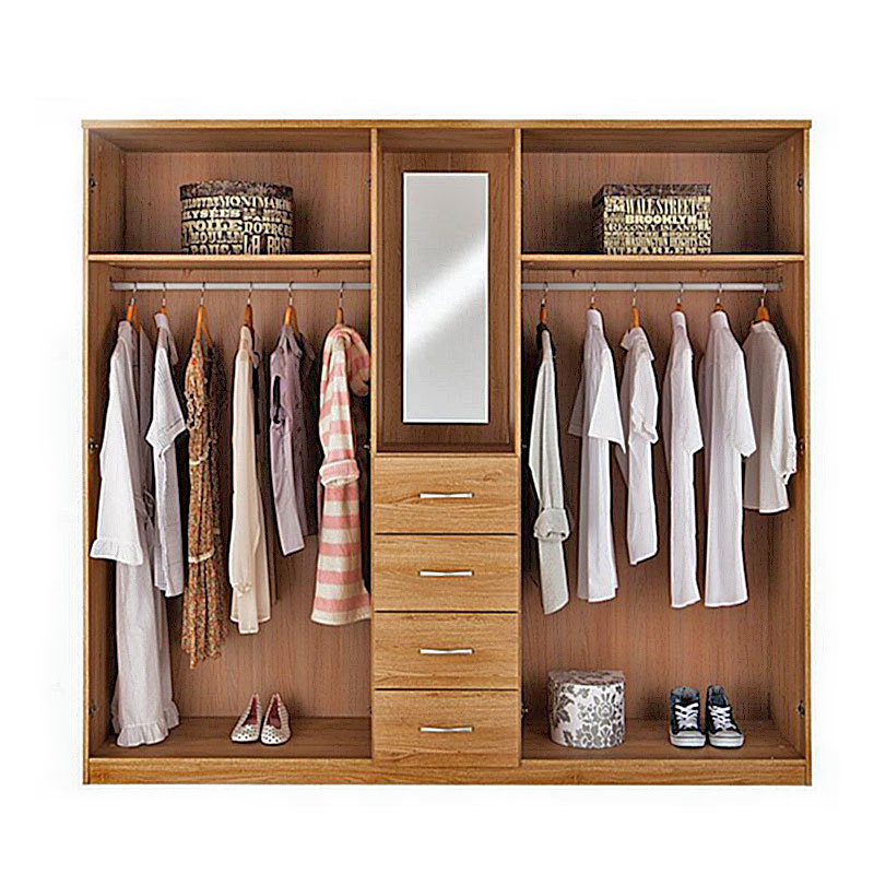 Cheap Classical Wood Bedroom Clothes Wardrobe Closet Design With Mirror