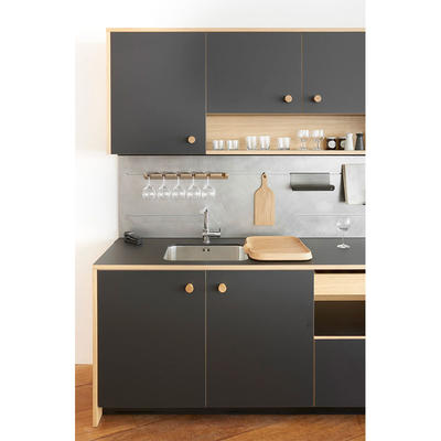 Complete Compact Flat Pack Wooden Kitchen Cabinet