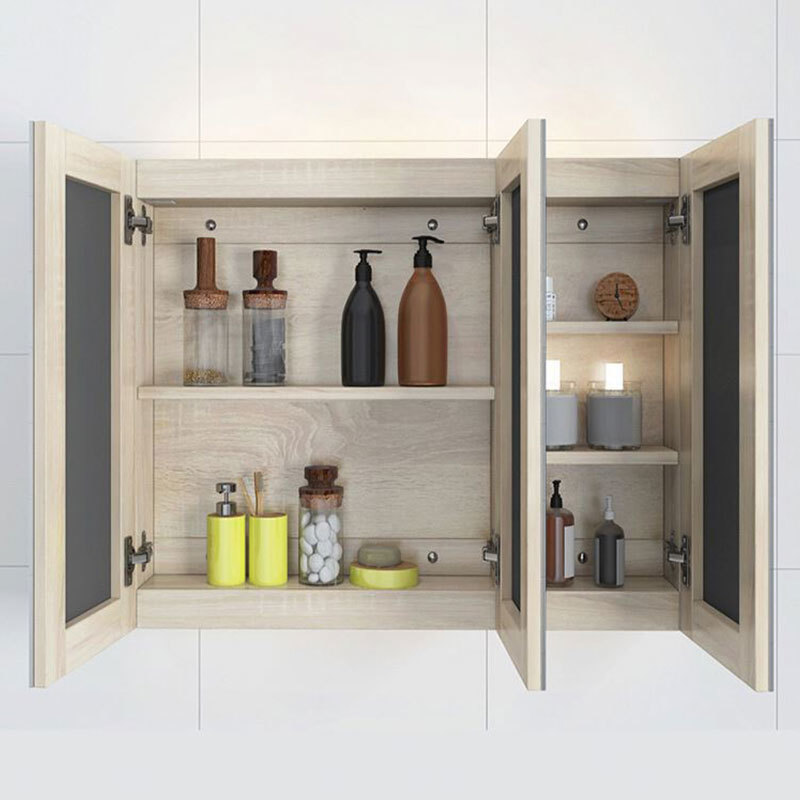 Home Mirrored Solid Wood Bathroom Cabinet With Leg
