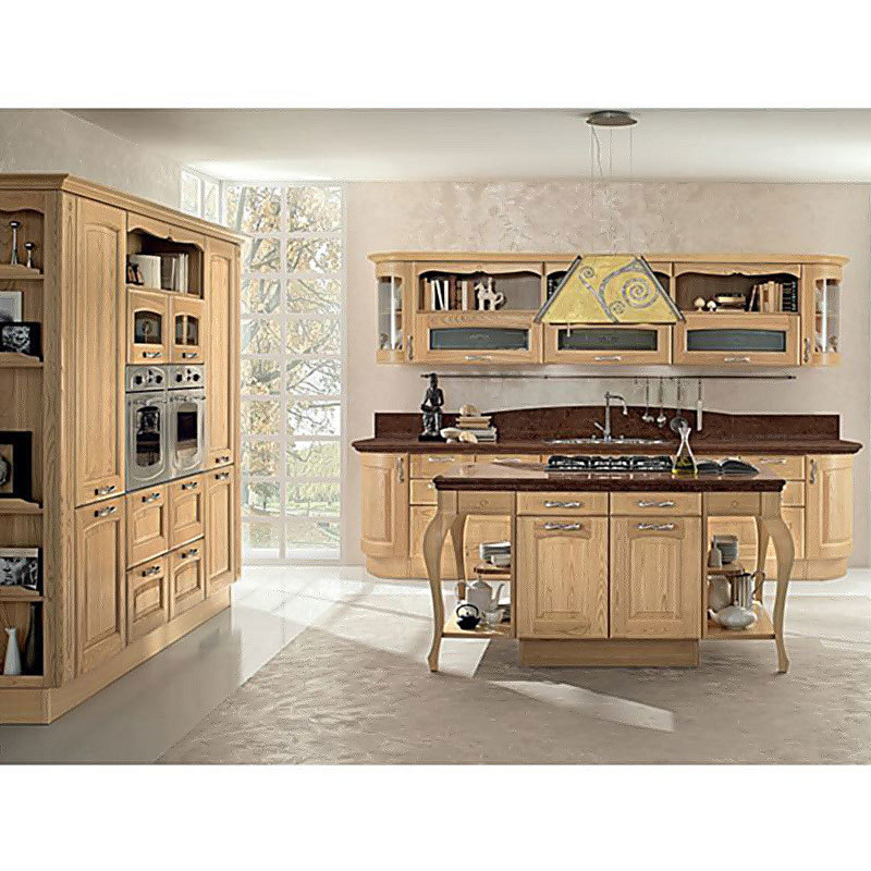 Customized Size Classic Modern Kitchen Cabinets Solid Wood New