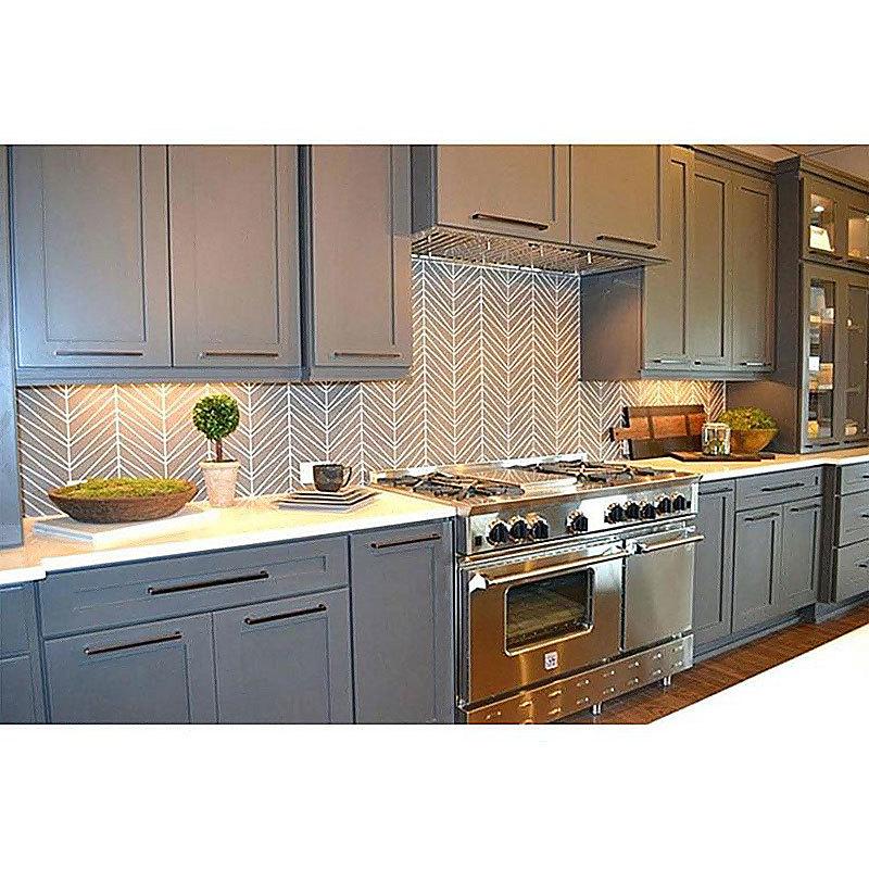 High End Solid Wood Modern White Melamine Bright Luxury Kitchen Cabinet