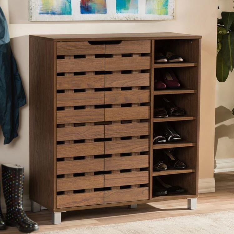 3 4 5 Layers European Closed Shoe Rack Wood Antique Luxury Shoe Storage Cabinet