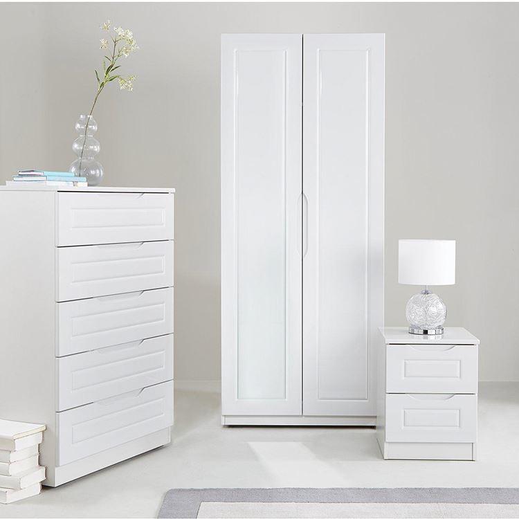 2 Door White Home Furniture MDF Wood Storage Bedroom Cheap Wardrobe