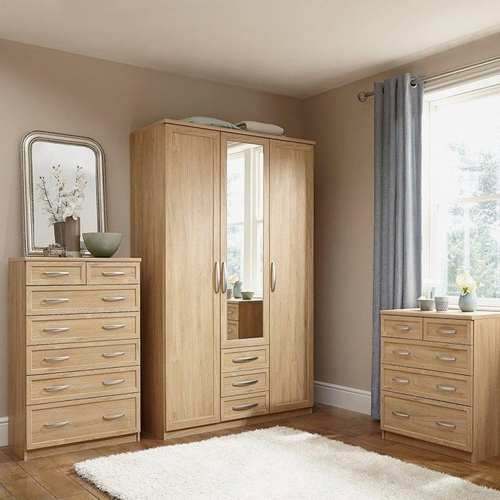 3 Door Simple Wood Fitted Wardrobe Prices